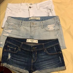 Abercrombie Fitch denim shorts , 3 pcs together